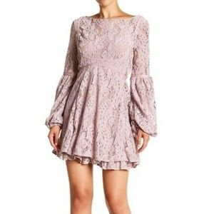 New Free People Mauve Rubi Lace Mini Flare Dress
